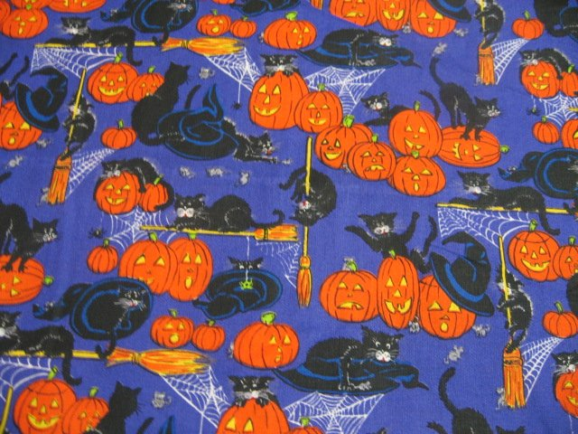Image 0 of Halloween Cats Mice Pumpkins Spiders Webs Purple Cotton fabric by the yard