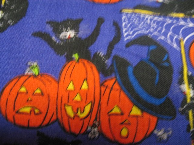 Image 1 of Halloween Cats Mice Pumpkins Spiders Webs Purple Cotton fabric by the yard