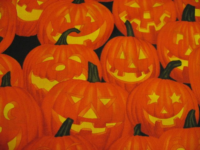 Image 0 of Halloween Pumpkins Smiles Faces Jack-o-lanterns Orange Cotton fabric by the yard