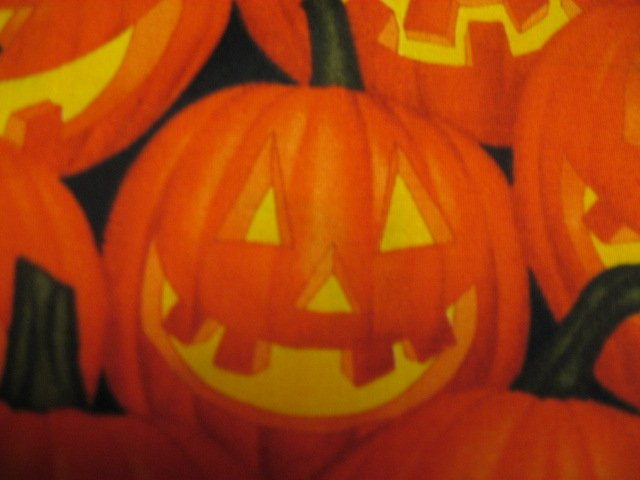 Image 1 of Halloween Pumpkins Smiles Faces Jack-o-lanterns Orange Cotton fabric by the yard