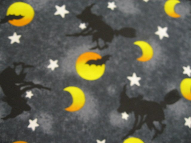 Image 0 of Halloween Witches broom bats moons stars Cotton fabric by the yard
