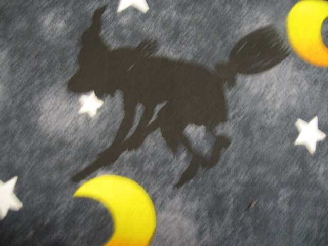 Image 1 of Halloween Witches broom bats moons stars Cotton fabric by the yard