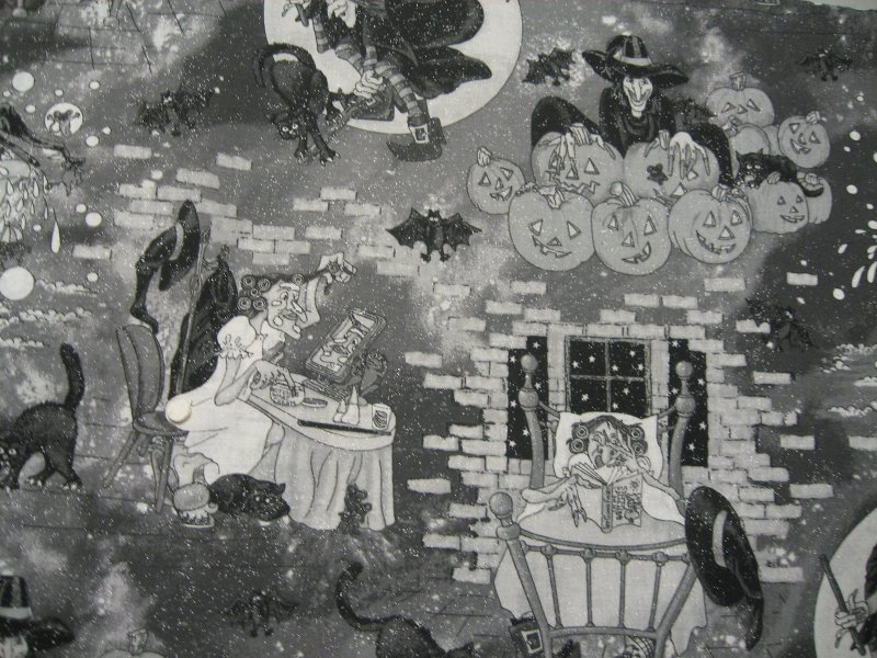 Image 1 of Halloween Cats Bats Witches in Bathtub 1/2 yard Glittery Cotton fabric 22