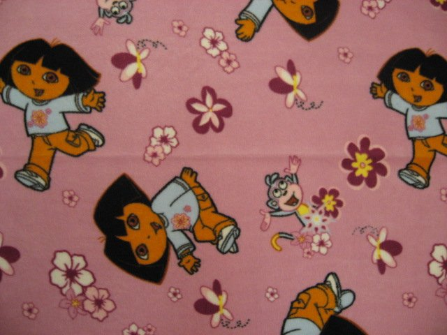 Image 0 of Dora and monkey mauve baby blanket Handmade with licensed fleece
