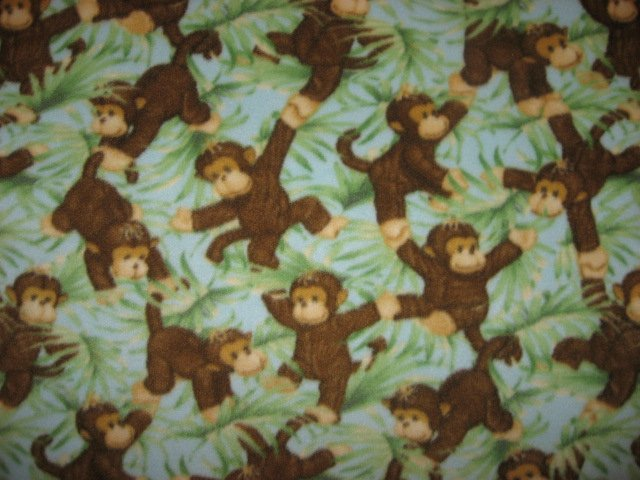 Image 0 of Jungle baby monkeys and Green leafs Child bed size Fleece Blanket 45 by 58
