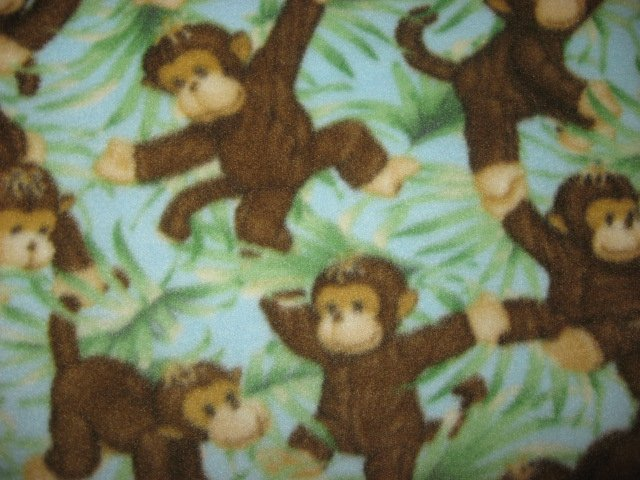 Image 1 of Jungle baby monkeys and Green leafs Child bed size Fleece Blanket 45 by 58