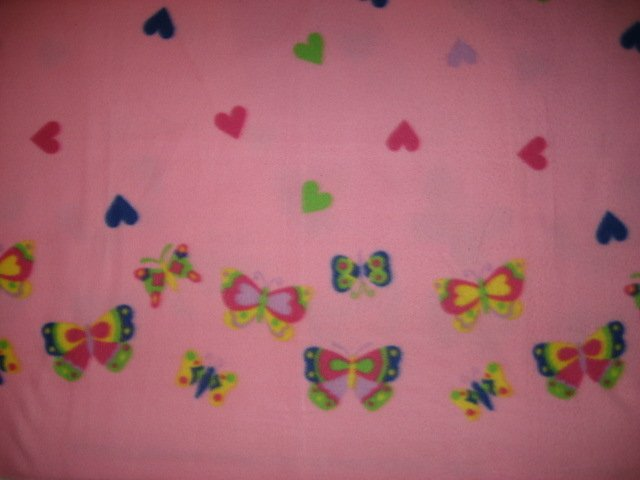 Fleece blanket for Baby or child Light Pink hearts center and butterfly border