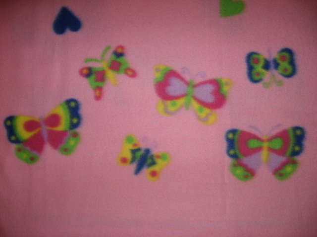 Image 1 of Fleece blanket for  child Light Pink hearts center and butterfly border