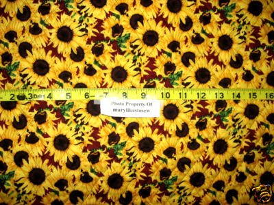 Sunflowers And Chickens Quilted Fabric By The Yard