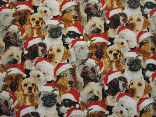 Dogs in Red Christmas hats 100% Cotton Quilt Sewing Fabric by the yard