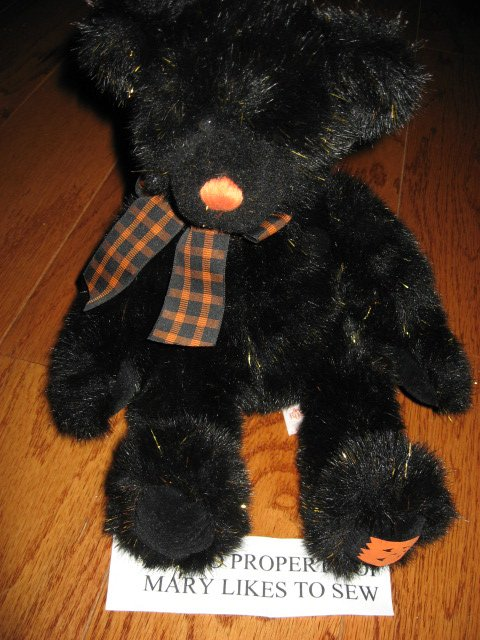 Image 0 of Russ Sparky Black Teddy Bear Metallic Gold Accents Halloween Gift