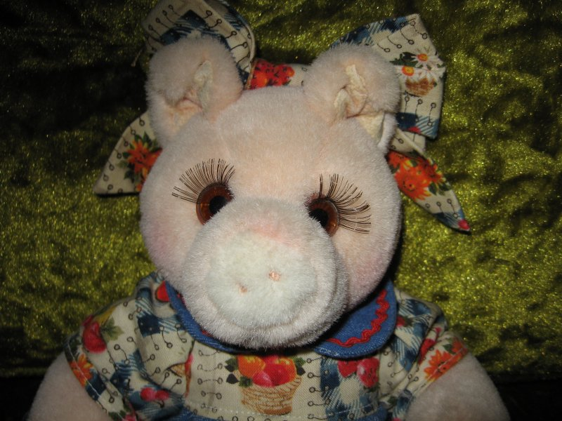 Image 1 of Pig doll Jointed Stuffed Velour Toy Removeable Dress Bloomers Gift /