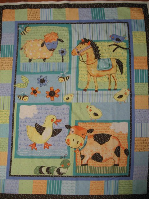 Image 0 of Farm Sheep Cow Horse Duck Squares Crib quilt fabric panel to sew