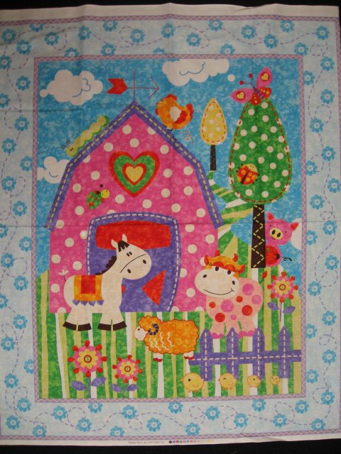 Farm pink Barn Sheep Cow Horse Duck Crib quilt fabric panel to sew