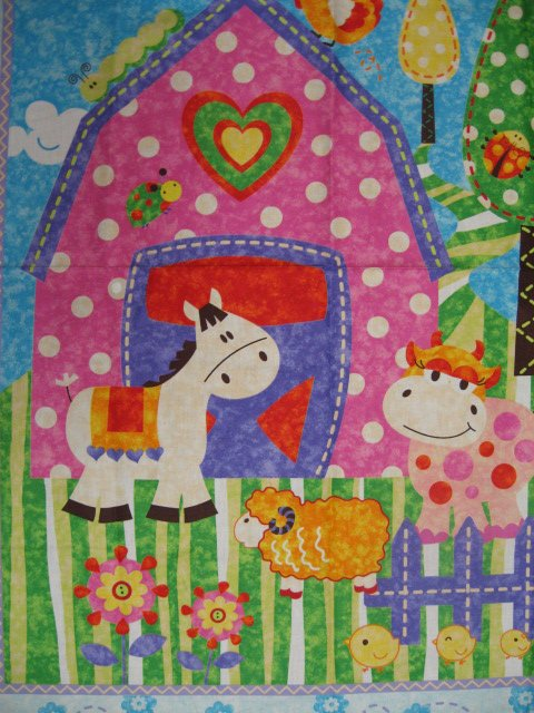 Image 1 of Farm pink Barn Sheep Cow Horse Duck Crib quilt fabric panel to sew