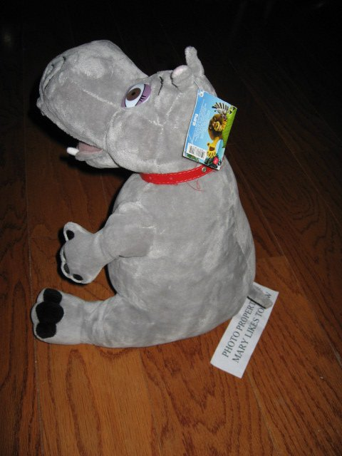 Image 2 of Madagascar Movie Gloria Hippo Gray velour  stuffed Animal