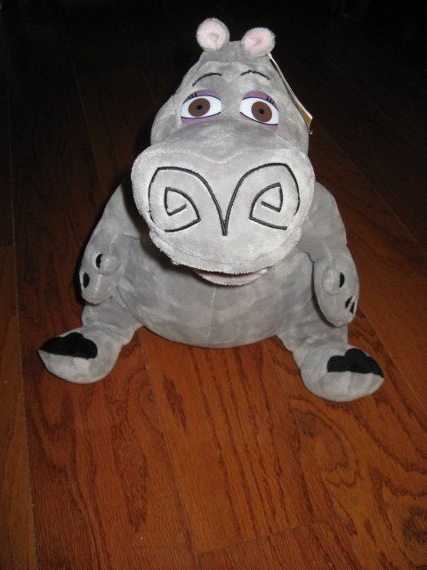 Madagascar Movie Gloria Hippo Gray velour  stuffed Animal