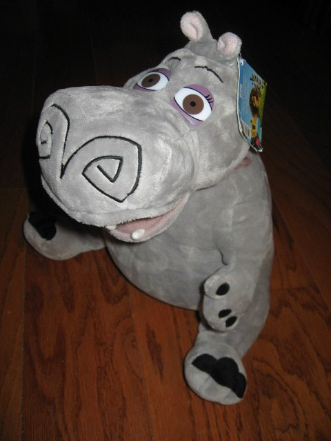 Image 1 of Madagascar Movie Gloria Hippo Gray velour  stuffed Animal