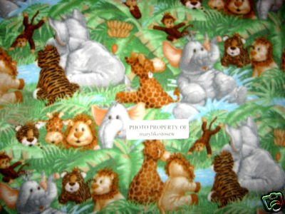 Image 0 of Jungle monkey and Baby animals Toddler bed size Fleece blanket Patty Reed