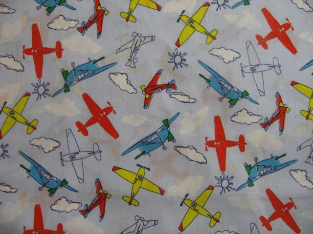 Airplane fabric colorful child pillow case soft sewing for Airplane fabric by the yard