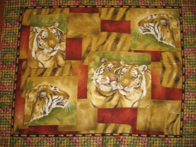 Tiger Faces fleece blanket Panel with finished edges