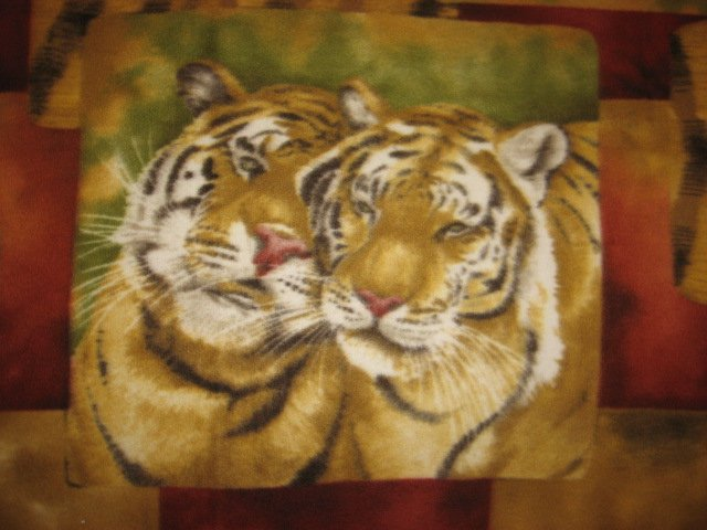 Image 1 of Tiger Faces fleece blanket Panel with finished edges