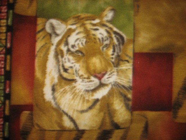 Image 2 of Tiger Faces fleece blanket Panel with finished edges