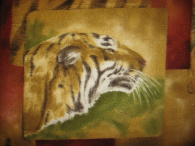 Image 3 of Tiger Faces fleece blanket Panel with finished edges