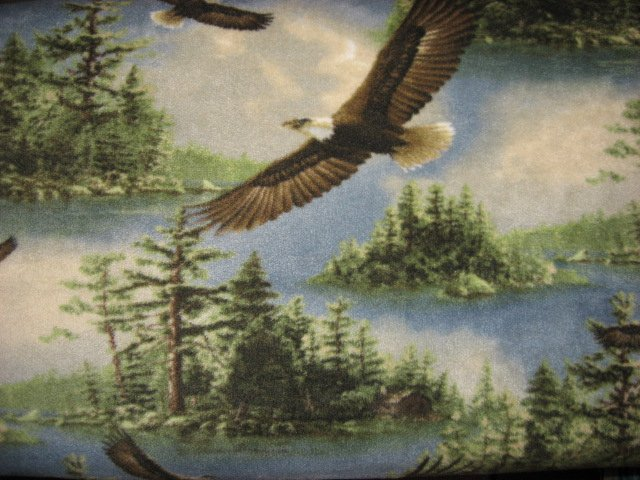 Eagles flying over lake and islands overall Anti-pill fleece blanket