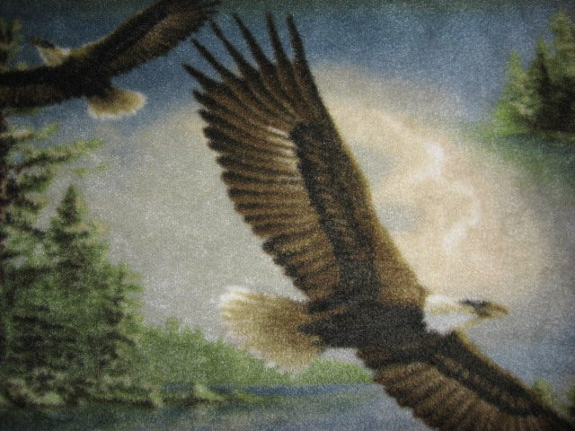 Image 1 of Eagles flying over lake and islands overall Anti-pill fleece blanket