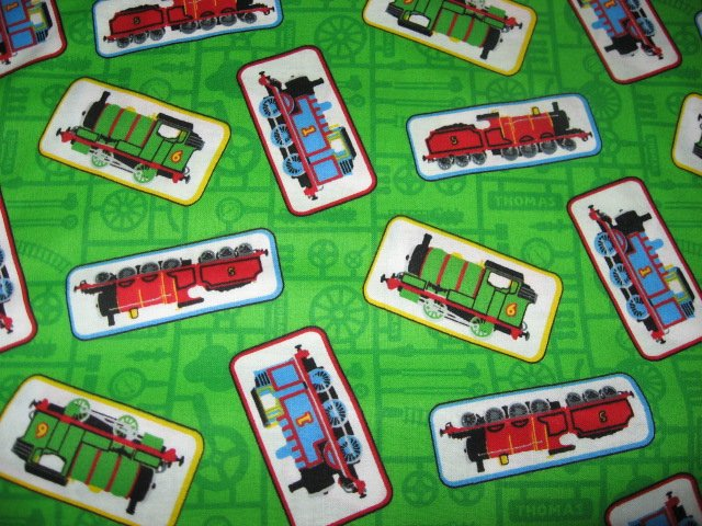 Image 0 of Thomas the tank train engine Green sewing cotton Fabric by the Yard