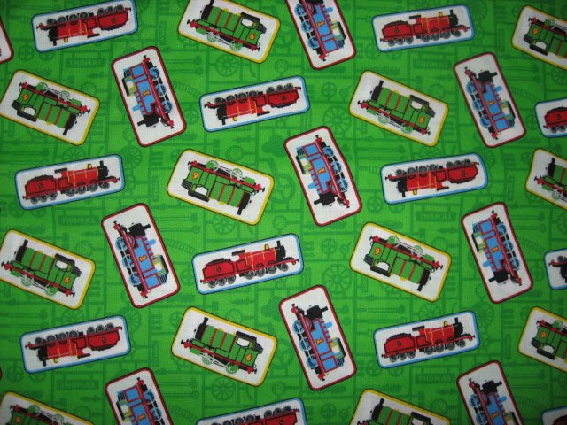 Image 1 of Thomas the tank train engine Green sewing cotton Fabric by the Yard