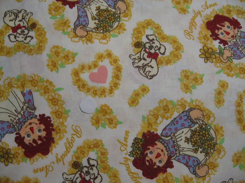 Image 0 of Raggedy Ann Dog Flowers Yellow soft sewing cotton Fabric by the Yard