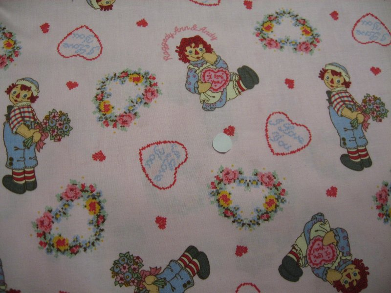 Raggedy Ann Andy Flowers Hearts Pink sewing cotton Fabric by the Yard