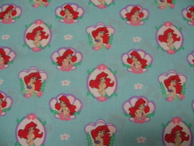 Disney Ariel Mermaid Seashell 45 wide cotton Fabric by the half yd