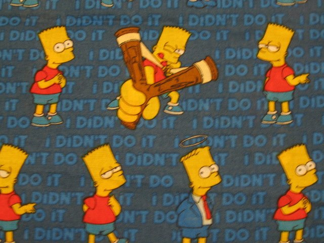 Bart Simpson Slingshot  Blue sewing cotton Fabric by the yard 2007 Free Shipping