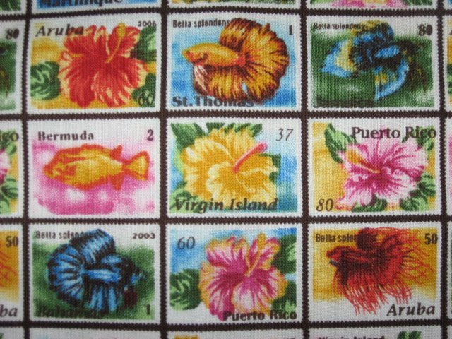 Image 0 of Tropical Floral Stamps of Aruba Bermuda Puerto Rico cotton fabric Last  yard