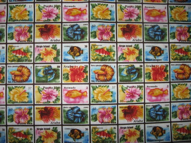 Image 1 of Tropical Floral Stamps of Aruba Bermuda Puerto Rico cotton fabric Last  yard
