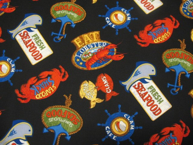 Image 0 of Lobster ocean fish clams Tablecloth napkin restaurant cotton fabric by the yard