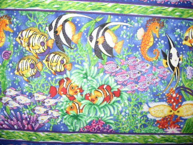 Sea ocean fish in rows sewing cotton Fabric By The Yard