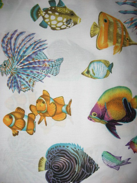 Sea ocean Spiney and Nemo type fish White sewing cotton fabric by the yard