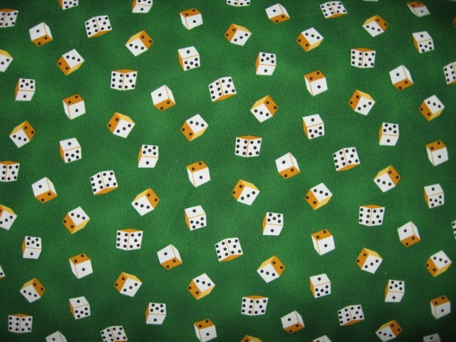 Dice 3/8 pictures by Robert Kaufman green cotton Fabric make bags table covers