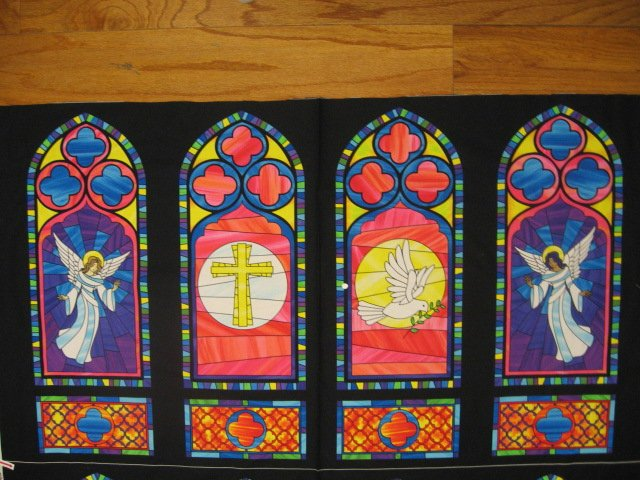 Michael Miller Stained glass windows look Angels cotton 23 fabric panel //