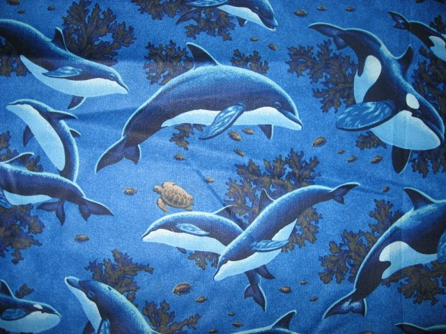 Dolphins dolphin Whales whale coral turtle cotton quilt fabric by the yard