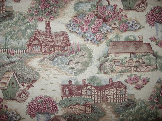 Image 0 of Enchanted Country cottages houses and flowers cotton Fabric