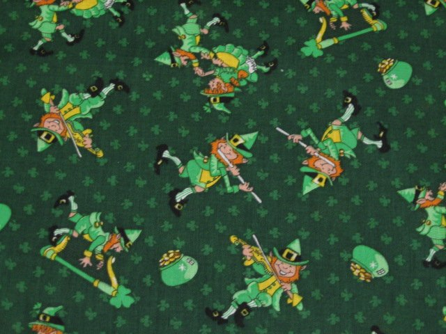 Elf elves flute dancing saint patrick 39 s day sewing cotton for Solar system fleece fabric
