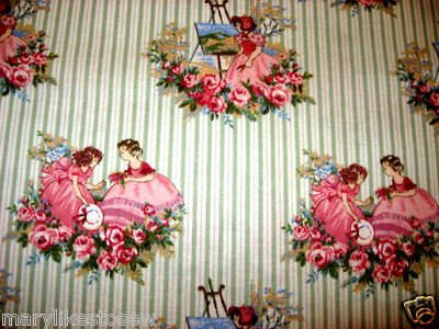 Girls and flowers on Vintage look sewing cotton fabric by the yard