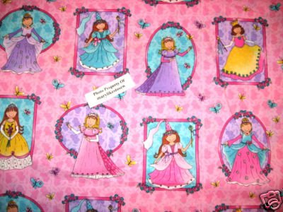 Princesses Little girls portraits pink cotton Fabric by the yard