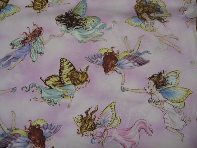 Image 0 of Fairy fairies with butterfly wings on pink cotton sewing Fabric By The Yard