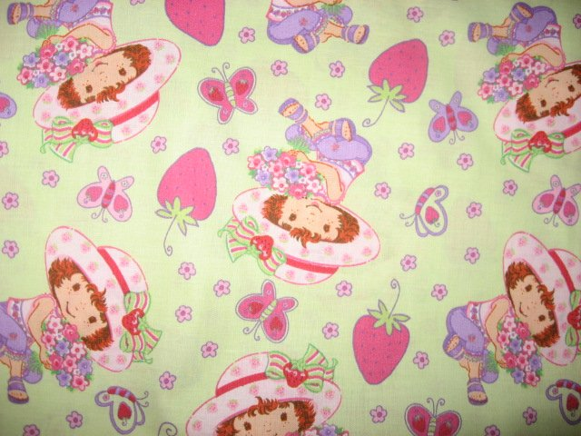 Strawberry Shortcake Berries Butterflies Flowers green cotton Fabric